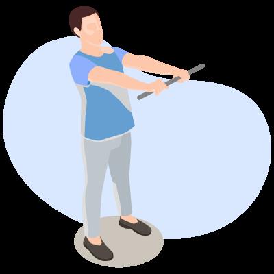 Упражнения после инсульта для рук. Отведение выпрямленной руки