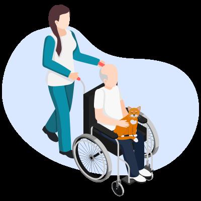 Перемещение пациента с инвалидной коляски, используя колено опекуна